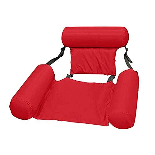 Riyyow Cama Flotante Float Lounge Cama de Agua Piscina Plegable Ajustable con Respaldo Inflable Hamaca Hamaca colchón de Aire Inflable (Color: Rojo)