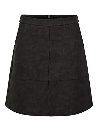ONLY Damen Onllisa Ash Faux Leather Skirt OTW Rock, Schwarz (Black Black), (Herstellergröße: 38)