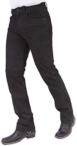 RICANO Jeans 01 NK Herren Lederhose, Büffel Nubuk Echtleder (36, Dunkelbraun)