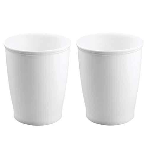 mDesign Abfalleimer für Badezimmer, Büro oder Küche, Weiß, 2 Stück