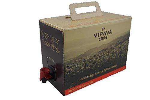 Vipava 1894 Vino rosso Borsa in scatola 3 litri di vino rosso Box 3 L Cuvee rosso - Barbera/Merlot vino rosso in scatola 3 litri (3 l)