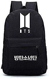 Travel Black Backpack BTS Logo Backpack KPOP Bangtan Boys Jimin Jung Kook JIN School Shoulder Bag
