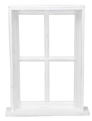 Posiwio Cornice per finestra decorativa con cornice e ripiano in legno in stile rustico, bianco shabby