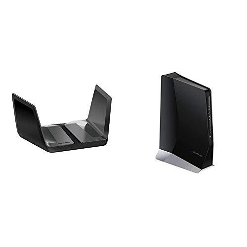 NETGEAR Nighthawk AX8 8-Stream Wifi 6 Router (RAX80) with Nighthawk AX8 8-Stream AX6000 WiFi 6 Mesh Extender