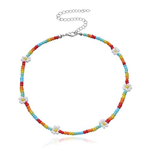 Shangwang - Collar corto con colgante de flor de margarita, multicolor