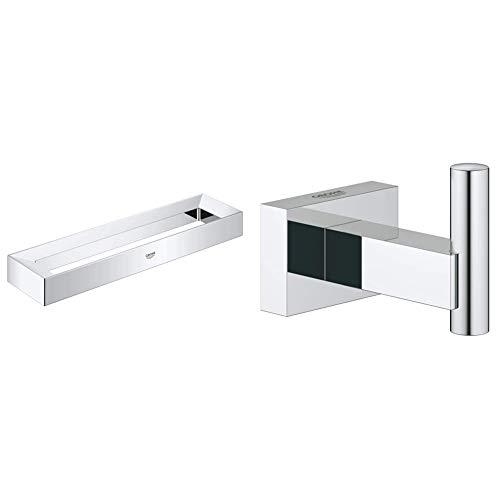 Grohe Selection Cube Argolla, Color Cromo (Ref.40766000) + Essentials Cube Colgador de Albornoz, fijación empotrada (Ref. 40511001)