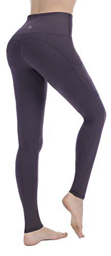 PUNZYMO High Waist Leggings Damen Sport Fitness Yogahose Lange Blickdicht Leggins Fitnesshose mit Taschen, Dunkelviolett, M