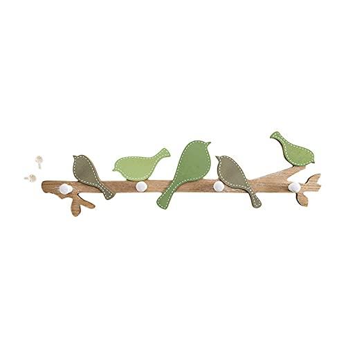 フック ウォール<br> 小鳥が木にとまっている形の壁付けフック<br> 傘掛け <br> コード掛け<br> タオル掛け<br> キッチン<br> 寝室<br> 玄関<br> 書斎<br> 様々なシーンで大活躍 (グリーン)
