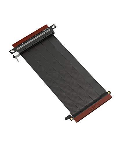 LINKUP - Ultra PCIe 4.0 X16 Tarjeta Extensión Cable Elevador [RTX3090 RX6900XT Probado] Vertical Gen4 Blindado┃Conectores Dobles Inversos {18cm} Diseñados para Las Series ITX + NVIDIA e ITX + AMD6000