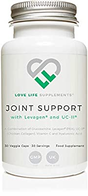 Joint Support with Levagen® (Palmitoylethanolamide) and UC-II® Chicken Collagen by Love Life Supplements | 30 Capsules - 30 Servings | Also Includes Glucosamine, Vitamin C and Hyaluronic Acid