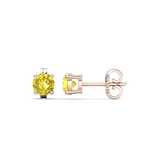 Ani's Pendientes solitarios de diamante de zafiro amarillo de 3 mm-9 mm, de corte redondo D/VVS1 en plata de ley 925 chapada en oro rosa de 14 quilates