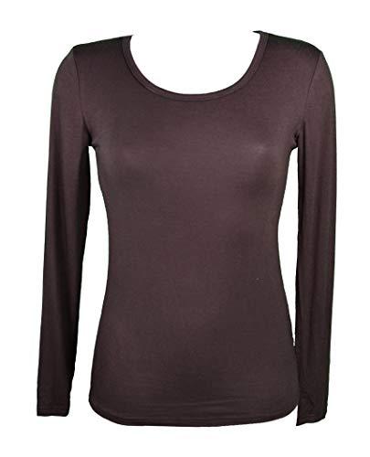 Miss Rouge: camiseta interior para mujer de manga larga, viscosa marrón Talla única
