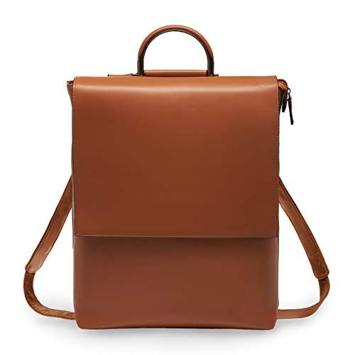 BRESCONI 15.6 inch Laptop Backpack for Women - Brown Vegan Leather Slim Bag