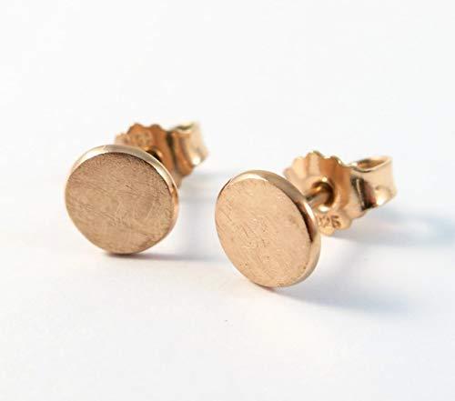 Ohrstecker Roségold Silber 925 | echte Handmade Ohrringe rose vergoldet rund 6mm Eis-Matt | perfektes Geschenk für Damen, Herren, Kinder | kleine Silber Ohrringe Schmuck Set | Geburtstag