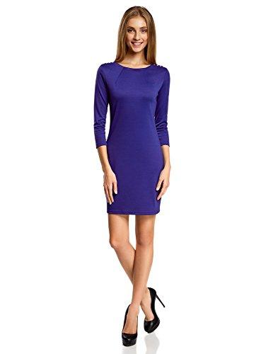 oodji Ultra Damen Kleid mit Metall-Deko auf den Schultern, Blau, DE 36 / EU 38 / S