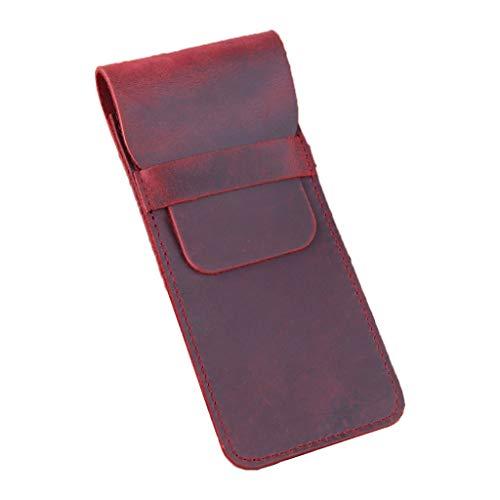 PING - Estuche de piel retro para lápices estilográficos, bolsa de almacenamiento hecha a mano con bolígrafo, funda protectora para regalo de estudiante