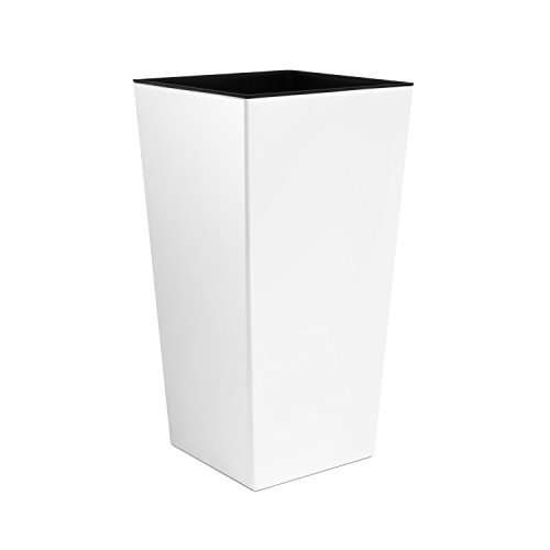 Prosperplast - Vaso per Piante Coubi Urbi Square 49Lt Alto con Inserto Largo 32 Cm Colore: Bianco