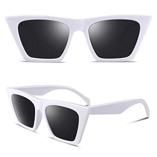 GQUEEN GQZ6 - Gafas de sol polarizadas para mujer, diseño de ojo de gato, color Blanco, talla Medium