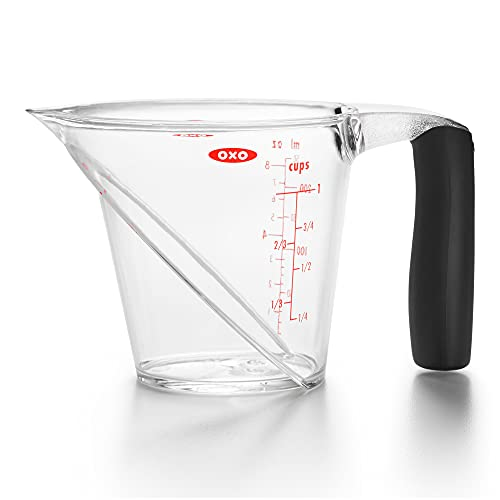 OXO Good Grips 1-Cup Angled Glass Measuring Cup For Medicine With Leveler