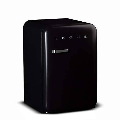 IKOHS Retro Fridge - Frigorífico con diseño, Control de Temperatura Ajustable, Estantes Intercambiables, Estética Vintage de los años 50, Clase Energética A+ (Negro, 83.5 cm)