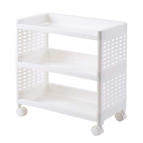 HUO, plank bureaublad meerlagig keuken opslag rek badkamer dubbele cosmetische opslag rack plank holte plastic dubbel frame kruiwagen A