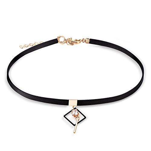 Cherisherre Black Choker Necklace for Women,Gold Accented Choker Necklace with Stone Pendant Faux Leather Cord