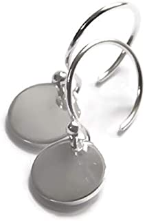 925 Sterling Silver Disk Earrings - Minimalist Circle Drop/Dangle - Lightweight & Comfortable; Everyday Earrings #1 BEST SELLER