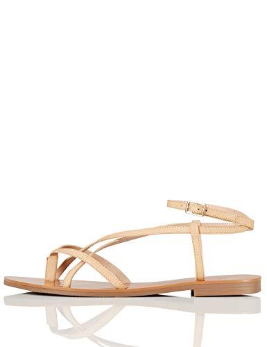 find. #_ Innis-s-17 Sandalias de Gladiador, Beige, 38