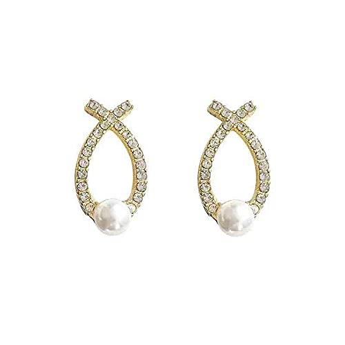 S925 aguja de plata geométrica cruz perla pendientes personalizados pedrería con incrustaciones totales moda pendientes simples pendientes pendientes
