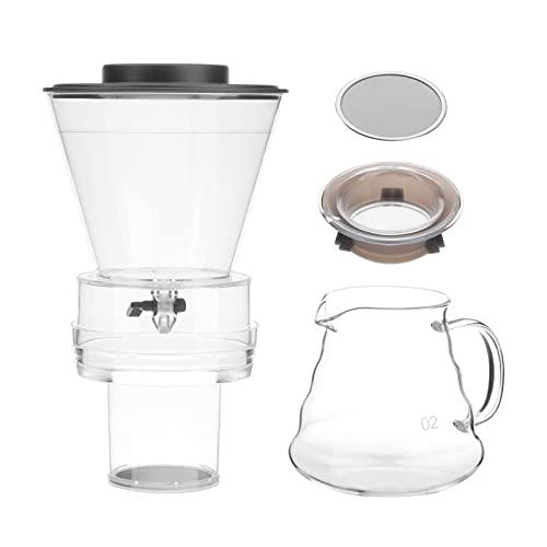 perfk Cafetera de Goteo Fría Reutilizable, Hervidor de Agua con Filtro de Vidrio, Cafetera Manual para El Hogar - Estilo 1, tal como se describe