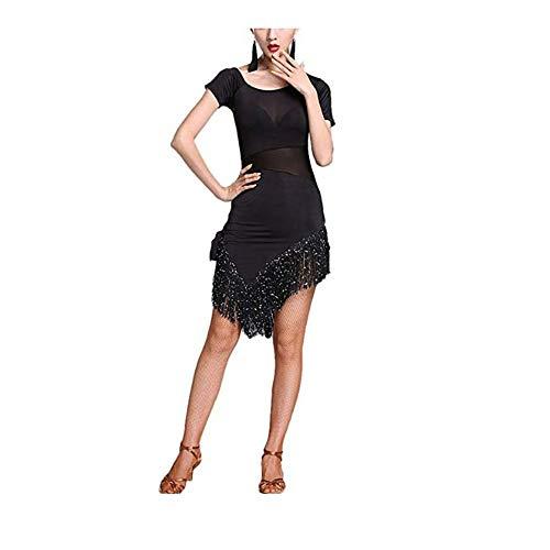 Vestido de Baile Mujer Mujeres vestido de baile latino de manga corta con flecos asimétricos borlas Rumba Samba Tango Salón de baile Ropa de baile Competencia Rendimiento Vestido de baile para Mujeres