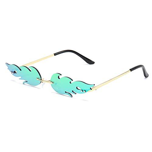 Randlos Welle Sonnenbrillen Mode Vintage Unisex Flamme Sonnenbrille Creative Sonnenbrill Damen Herren Unisex Feuer Flamme Sonnenbrille Frauen Männer Flamme Sonnenbrille Weibliche Randlos Trendy Grün