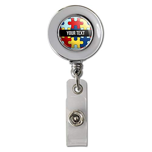 Personalized Custom Autism Awareness 1 Line Retractable Reel Chrome Badge ID Card Holder Clip