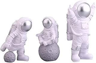 3pcs Astronaut Desktop Ornaments Resin Spaceman Figure Toy Cake Topper Tabletop Ornament for Kids Party Gift Decor