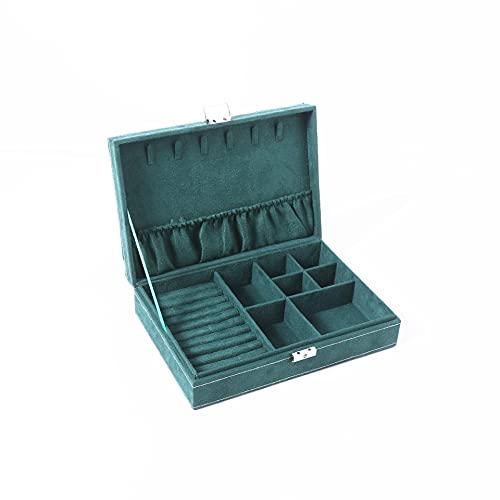 Caja de almacenamiento de joyería de terciopelo verde de tres capas para joyas, pendientes, collar, pulsera, caja de almacenamiento de polvo, verde, A