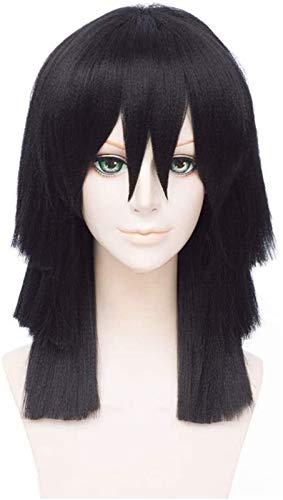 XIAOGING Demon Slayer: Kimetsu No Yaiba Iguro Obanai Black Styled Woman Cosplay Party Fashion Anime Human Disfraz Human Wigs Sinttico Pelo Pelo Resistente a la Fibra 40 cm