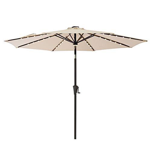 C-Hopetree 10 ft Outdoor Patio Market Umbrella with Solar LED Lights and Tilt - Beige