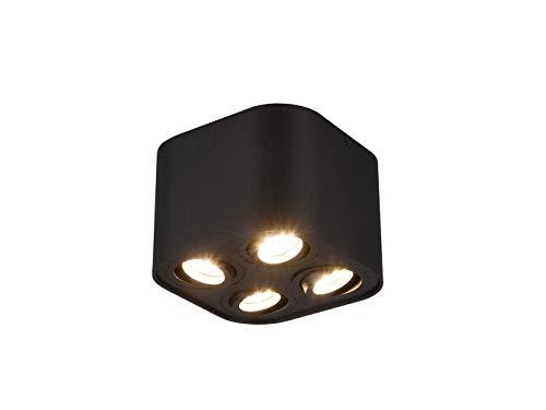 Trio - Faro da soffitto a Cilindro Geometrico con LED e Quattro faretti orientabili, Nero Opaco