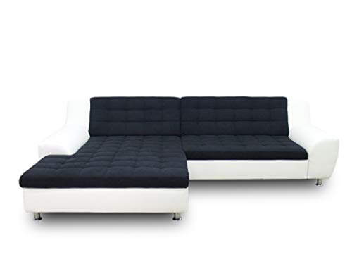 DOMO collection Morton Ecksofa, Sofa in L-Form, Eckcouch, Polstergarnitur, 304x200x84 cm in schwarz/weiß