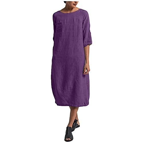 Liably Vestido de verano para mujer de lino, talla grande, informal, vestido maxivestido de verano, elegante, suelto, color sencillo, falda recta, para la playa morado S