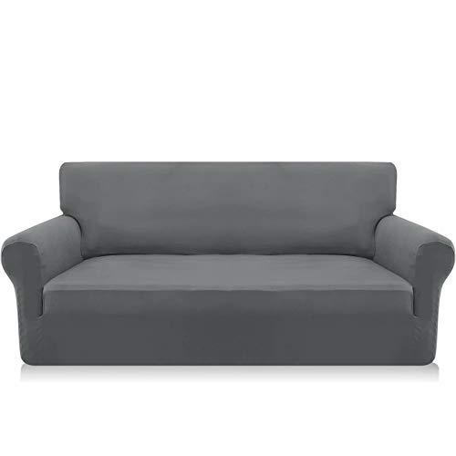 Granbest Funda elástica para sofá de 3 plazas de Microfibra súper Suave para sofá Funda de sofá Funda Antideslizante de Elastano para Perros y Mascotas (3 Plaza, Gris Claro)
