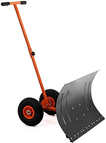 ZJDU Adjustable Wheeled Snow Shovel Pusher Metal Rolling Removal Tool with MultiAngle Heavy Duty Large Blade Plow amp Height Adjustable Handle for Doorway Driveway Or Pavement Clearing