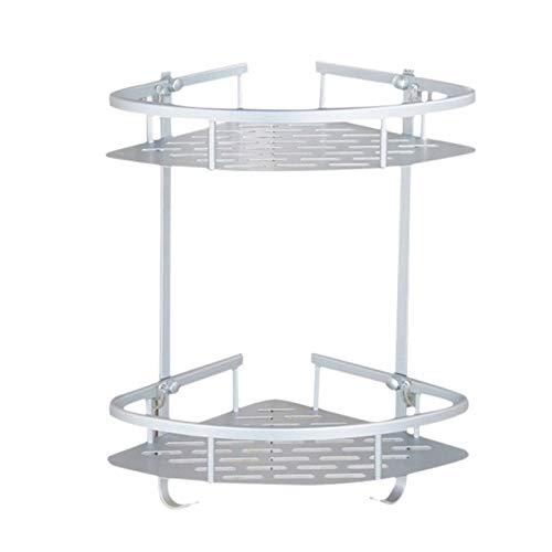 Heritan No hay estantes de la esquina del cuarto de baño de la perforación, cesta de almacenamiento adhesiva de aluminio de 2 niveles para el champú