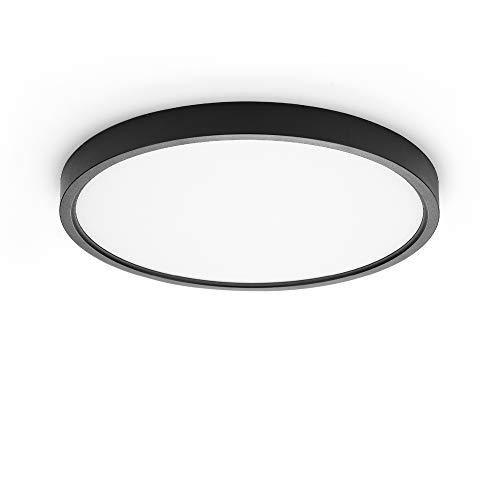 TALOYA Lámpara LED de techo de montaje en superficie, 12 pulgadas, 1 unidad, carcasa negra, equivalente a bombilla tradicional de 200...