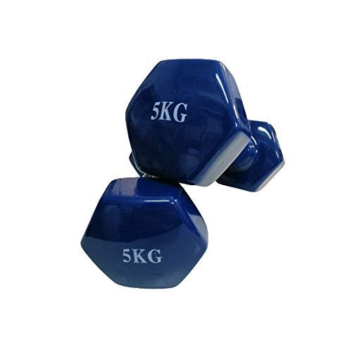 Kit de Mancuernas de Vinilo (Vendido en Pares de 5 kg) | Mancuernas hexagonales de Goma para Pilates | Pesas Antideslizantes Fitness para Gimnasio en casa | Deporte con Pesas 1kg. KOTTAO.