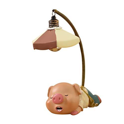 Mobestech Piggy Night Lamp Resin Piggy Night Light Nachtlampe Desktop-Schmuck Micro Landscape Adornment (Toothy Pig Lamp)