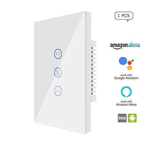 Interruptor WiFi Curtain Switch, controlador Roller Shutter Switch, US Smart Wifi Touch Switch, funciona con Amazon Alexa (Echo) / Google Home, compatible con iOS/Android