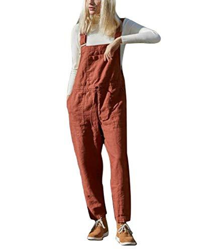 Tomwell Damen Beiläufig Latzhose Jumpsuits Bib Hose Leinen Casual Baggy Retro Overall Lange Wide Leg Sommerhose mit Kordelzug A Rot 36