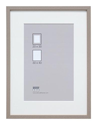 Deknudt Frames S223K7 Bilderrahmen 30x40 Basic, Taupe hohe Holzleiste mit Pptt - Bestellmass=Rahmenmass Holz Fotokader