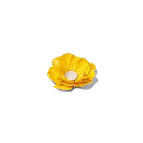 4 Fleurs Pivoines adhésives en lin - Jaune